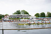 Henley on Thames, England, United Kingdom, 6th July 2019, Henley Royal Regatta, Semi Final, The Princess Elizabeth Challenge Cup, Scotch College, Melbourne, Australia, leading <br /> St. Paul's School to the finish line, Henley Reach, [© Peter SPURRIER/Intersport Image]<br /> <br /> 15:41:35 1919 - 2019, Royal Henley Peace Regatta Centenary,