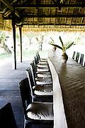 Restaruant dining table at Knai Bang Chatt. Kep, Cambodia