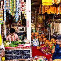 General store selling Special Caps for Holi at Barsana. Braj ki Holi