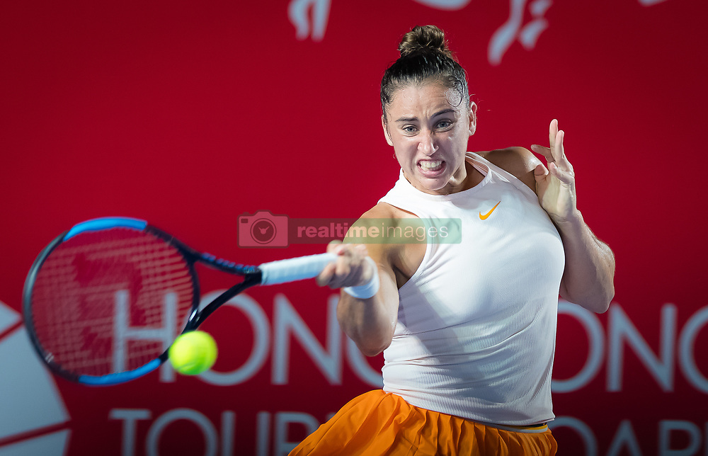 October 9, 2018 - Hong Kong, China - Sara Sorribes Tormo of Spain in action during her first-round match at the 2018 Prudential Hong Kong Tennis Open WTA International tennis tournament (Credit Image: © AFP7 via ZUMA Wire)
