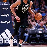 01 April 2018: Milwaukee Bucks forward Giannis Antetokounmpo (34) is seen during the Denver Nuggets 128-125 victory over the Milwaukee Bucks, at the Pepsi Center, Denver, Colorado, USA.