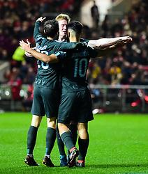 Sergio Aguero of Manchester City celebrates after scoring his sides second goal - Mandatory by-line: Alex James/JMP - 23/01/2018 - FOOTBALL - Ashton Gate Stadium - Bristol, England - Bristol City v Manchester City - Carabao Cup Semi Final second leg