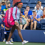 2019 US Open Tennis Tournament- Day Four.  Coco Gauff of the United States arrives on court for her match against Timea Babos of Hungary in the Women's Singles Round Two match on Louis Armstrong Stadium at the 2019 US Open Tennis Tournament at the USTA Billie Jean King National Tennis Center on August 29th, 2019 in Flushing, Queens, New York City.  (Photo by Tim Clayton/Corbis via Getty Images)