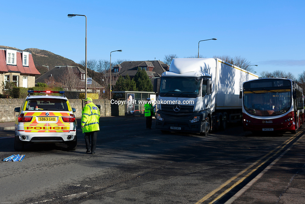 Edinburgh, UK. 7th March. A massive accident has been crashed next to Cameron Toll Shopping Centre. Accident happened rush early morning involve a white van crashed under track lorry. Driver's  van was taken to the Edinburgh New Royal Infirmary.<br /> <br /> Pic Pako Mera