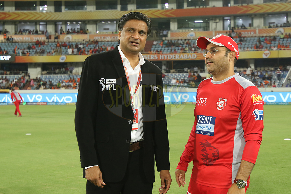 Virender Sehwag with match referee Sreenath during match twenty five of the Vivo Indian Premier League 2018 (IPL 2018) between the Sunrisers Hyderabad and the Kings XI Punjab  held at the Rajiv Gandhi International Cricket Stadium in Hyderabad on the 26th April 2018.<br /> <br /> Photo by Saikat Das /SPORTZPICS for BCCI