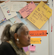 Notes from students are on display as Dr. Johnnie Carter teaches poetry to her 4th grade class at De Anda Elementary School, February 5, 2014.