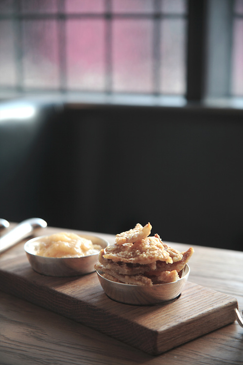 Pork Cracklings, HIX Restaurant, 66-70 Brewer St, Soho, London, United Kingdom<br /> CREDIT: Vanessa Berberian for The Wall Street Journal<br /> HIX