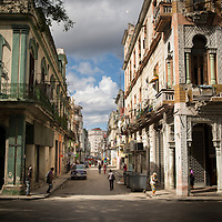Cuba, Havana central, Street views, old cars