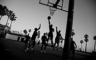 A basketball pick-up game takes place at Muscle Beach in Venice, CA. on May 19, 2017.<br /> <br /> Photo by Samuel Navarro