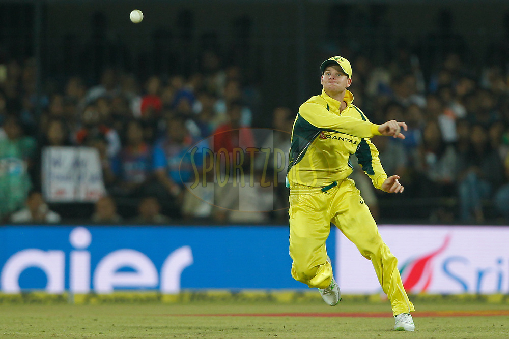 Steven Smith captain of Australia throws the ball during the 3rd One Day International between India and Australia held at the Holkar Stadium in Indore on the 24th  September 2017<br /> <br /> Photo by Deepak Malik / BCCI / SPORTZPICS