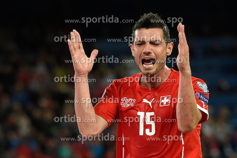 05.09.2015, St. Jakob Park, Basel, SUI, UEFA Euro 2016 Qualifikation, Schweiz vs Slowenien, Gruppe E, im Bild Blerim Dzemaili (SUI) aergert // during the UEFA EURO 2016 qualifier group E match between Switzerland and Slovenia at the St. Jakob Park in Basel, Switzerland on 2015/09/05. EXPA Pictures &copy; 2015, PhotoCredit: EXPA/ Freshfocus/ Urs Lindt<br /> <br /> *****ATTENTION - for AUT, SLO, CRO, SRB, BIH, MAZ only*****