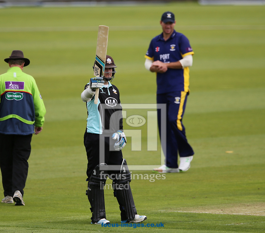 Steven Davies of Surrey County Cricket Club acknowledges the crowd after hitting a half century during the Royal London One Day Cup match at Emirates Durham ICG, Chester-le-Street<br /> Picture by Simon Moore/Focus Images Ltd 07807 671782<br /> 14/08/2014