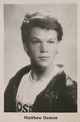 Aug 10, 2007; Cambridge, MA, USA; PICTURED: Actor MATT DAMON in his senior yearbook photo at Cambridge Rindge and Latin high school in Cambridge, Mass., in 1988, where he was two years ahead of fellow actor, Ben Affleck (Credit Image: © Cambridge Rindge and Latin H.S./ZUMAPRESS.com)