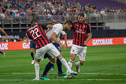 July 31, 2018 - Minneapolis, Minnesota, U.S - Tottenham's FERNANDO LLORENTE is snadwiched between Milan defenders MATEO MUSACCHIO (22) and MANUEL LOCATELLI  (Credit Image: © Keith R. Crowley via ZUMA Wire)