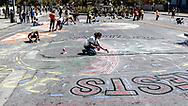 San Francisco, California, USA. 8th September, 2018. Thousands gather in San Francisco in Rise for Climate rally and march in advance of the Global Climate Summit to be held there September 12 to 14. Volunteers arrived early at Civic Center Plaza to help paint a total of 55 different street murals, each 35 feet (10.7 meters) wide. Shelly Rivoli/Alamy Live News San Francisco, California, USA. 8th September, 2018. Thousands gather in San Francisco in Rise for Climate rally and march in advance of the Global Climate Action Summit to be held there September 12 to 14. Credit: Shelly Rivoli