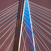 Bond Bridge over the Missouri River in Kansas City, Missouri lit Royal Blue for the Kansas City Royals' 2014 World Series run. Taken from Berkely Riverfront Park.