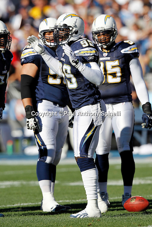 San Diego Chargers linebacker Kevin Burnett (99) calls a defensive play during the NFL week 14 football game against the Kansas City Chiefs on Sunday, December 12, 2010 in San Diego, California. The Chargers won the game 31-0. (©Paul Anthony Spinelli)