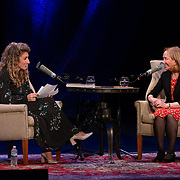 NHPR's Lauren Chooljian interviews author Doris Kearns Goodwin during a Writers on a New England Stage show at The Music Hall in Portsmouth, NH