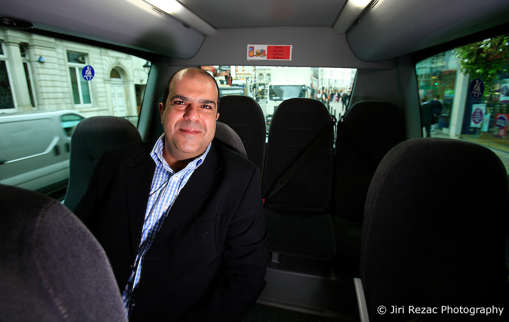 UK ENGLAND GATWICK 30SEP08 - Sir Stelios Haji-Ioannou poses for a photo inside a new Mercedes EasyBus at the Gatwick Airport bus terminal. Haji-Ioannou started easyJet PLC when he was 28. In 2000 easyJet PLC was partially floated on the London Stock Exchange however Stelios remains the largest single shareholder. He has since founded other EasyGroup businessnes like the EasyBus company...jre/Photo by Jiri Rezac..© Jiri Rezac 2008..Contact: +44 (0) 7050 110 417.Mobile:  +44 (0) 7801 337 683.Office:  +44 (0) 20 8968 9635..Email:   jiri@jirirezac.com.Web:    www.jirirezac.com..All images © Jiri Rezac 2008. All rights reserved.
