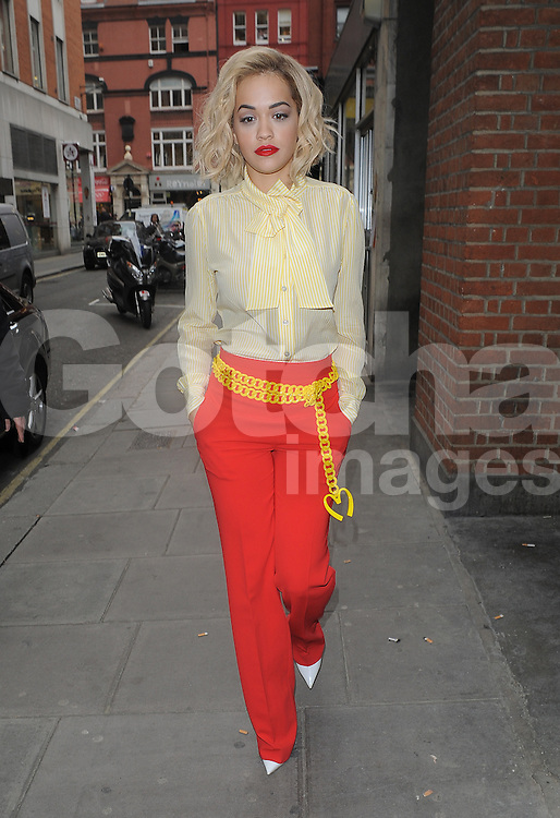 Singer Rita Ora visits Kiss FM in central London, UK. 31/03/2014<br />BYLINE MUST READ : GOTCHAIMAGES.COM<br /><br />Copyright by &copy; Gotcha Images Ltd. All rights reserved.<br />Usage of this image is conditional upon the acceptance <br />of Gotcha Images Ltd, terms and conditions available at<br />www.gotchaimages.com