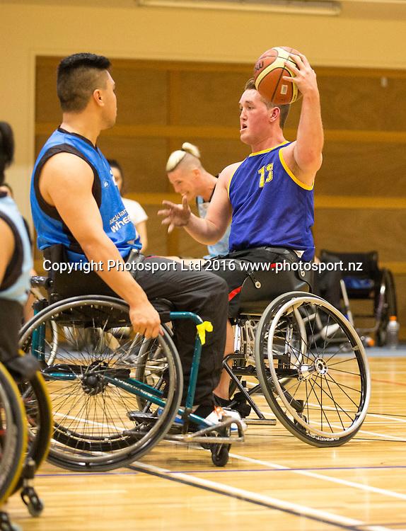 Wheelchair basketball, Day 1, Halberg Junior Disability Games, St Peter's School, Cambridge, New Zealand. Friday, 22 April, 2016. Copyright photo: John Cowpland / www.photosport.nz