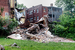 Structural failure and collapse at Apostolic Assembly Church on Independence Avenue at Benton Boulevard, Kansas City, Missouri. The 113 year-old builidng caved in on the morning of August 7, 2014 after severe rain. All occupants escaped with no injuries.