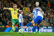 Brighton & Hove Albion winger Anthony Knockaert (11) battles with Norwich City forward Alex Pritchard (21)  during the EFL Sky Bet Championship match between Norwich City and Brighton and Hove Albion at Carrow Road, Norwich, England on 21 April 2017. Photo by Simon Davies.