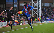Emmanuel Adebayor with the control during the Barclays Premier League match between Crystal Palace and Watford at Selhurst Park, London, England on 13 February 2016. Photo by Michael Hulf.