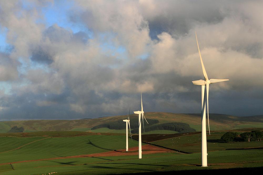 Halkburn Windfarm in the Scottish Borders on a summers morning; run by Wind Prospect Ltd
