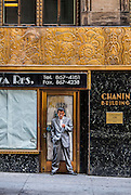 The 41st Street, rear facade of the oft-overlooked Chanin Building, one of the New York's greatest Art Deco treasures.<br /> The bronze frieze depicts evolution, and it encircles the building's second floor, while the ground floor is sheathed in black Belgian marble.