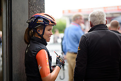 Karol-Ann Canuel (Boels Dolmans) takes shelter from the rain ahead of the 119 km Stage 6 of the Boels Ladies Tour 2016 on 4th September 2016 from Bunde to Valkenburg, Netherlands. (Photo by Sean Robinson/Velofocus).