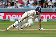 Ben Stokes of England turns as he takes a coupe of quick runs during the International Test Match 2019 match between England and Australia at Lord's Cricket Ground, St John's Wood, United Kingdom on 18 August 2019.