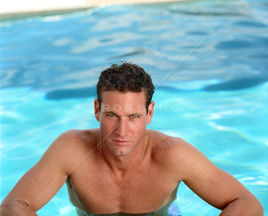 Very Good Looking Man In A Swimming Pool