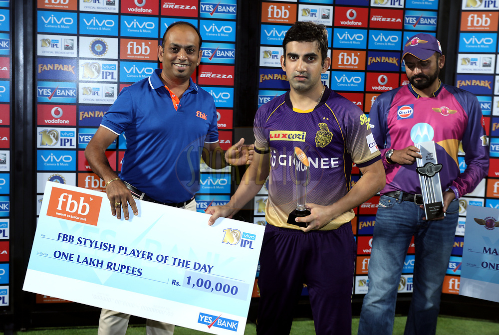 Kolkata Knight Riders captain Gautam Gambhir player receives Yes Bank Maximum sixes award during the presentation of the match 30 of the Vivo 2017 Indian Premier League between the Rising Pune Supergiants and the Kolkata Knight Riders  held at the MCA Pune International Cricket Stadium in Pune, India on the 26th April 2017<br /> <br /> Photo by Sandeep Shetty - Sportzpics - IPL