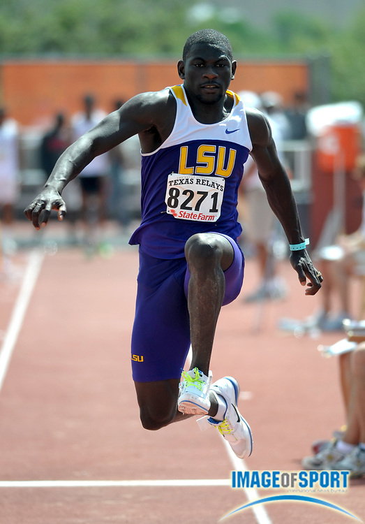 Mar 30, 2012; Austin, TX, USA; Kyron Blaise of LSU wins the triple jump in a wind-aided 53-6 1/2 (16.32m) in the 85th Clyde Littlefield Texas Relays at Mike A. Myers Stadium.