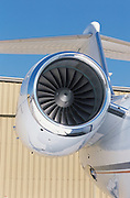 Vertical close up of a Gulfstream IV engine