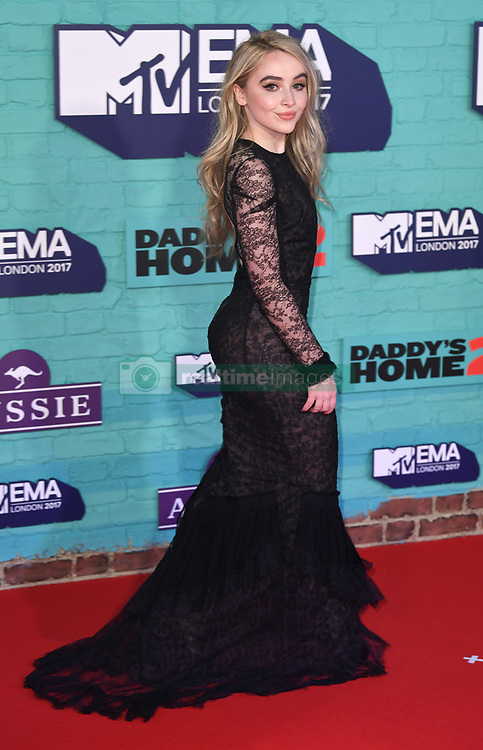 Sabrina Carpenter arriving at the MTV Europe Music Awards 2017 held at The SSE Arena, London. Photo credit should read: Doug Peters/EMPICS Entertainment