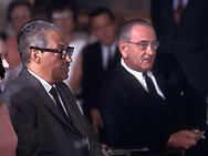 A 27MG IMAGE OF:<br /> <br /> Thurgood Marshall and President Lyndon Johnson in August 1967<br /> <br /> <br /> Photgraph by Dennis Brack BS B13