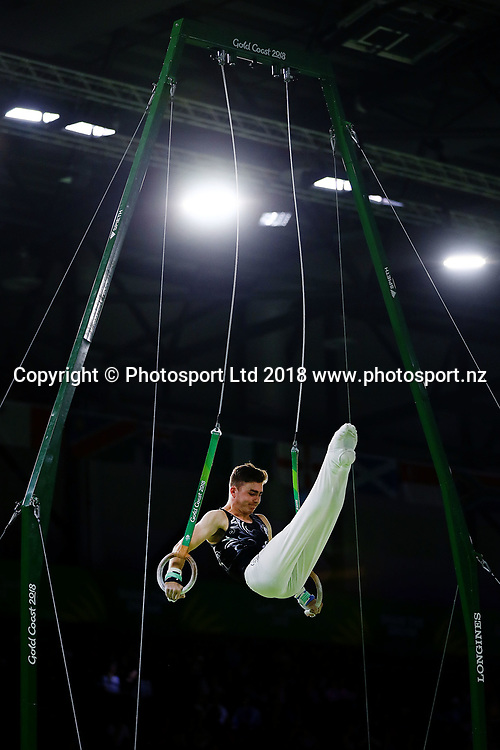 Ethan Dick of New Zealand competes in the Men's Individual All-Around Final. Gold Coast 2018 Commonwealth Games, Gymnastics Men's Individual All-Around Final, Coomera Indoor Sports Centre, Gold Coast, Australia. 7 April 2018 © Copyright Photo: Anthony Au-Yeung / www.photosport.nz