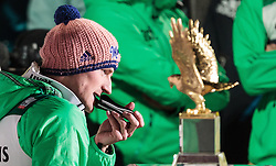 29.12.2015, Schattenbergschanze, Oberstdorf, GER, FIS Weltcup Ski Sprung, Vierschanzentournee, Bewerb, im Bild Severin Freund (GER) vor dem Pokal des Gesamtsiegers // Severin Freund of Germany in front of the overall trophy after his 2nd Competition Jump of Four Hills Tournament of FIS Ski Jumping World Cup at the Schattenbergschanze, Oberstdorf, Germany on 2015/12/29. EXPA Pictures © 2016, PhotoCredit: EXPA/ JFK