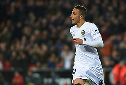 January 26, 2019 - Valencia, Valencia, Spain - Rodrigo Moreno of Valencia CF celebrates a goal during the La Liga Santander match between Valencia and Villarreal at Mestalla Stadium on Jenuary 26, 2019 in Valencia, Spain. (Credit Image: © Maria Jose Segovia/NurPhoto via ZUMA Press)