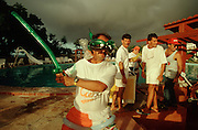 CUBA, GUARDALAVACA..Entertainer dressed as Ninja Turtle at Hotel Atlantico..(Photo by Heimo Aga)