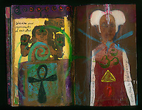 Mixed mediuma artist's journal with magazine and book art collage.