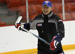 Head coach Mats Waltin at morning practice of Slovenian national team before match against Canada at Hockey IIHF WC 2008 in Halifax,  on May 02, 2008 in Metro Center, Halifax, Canada.  (Photo by Vid Ponikvar / Sportal Images)