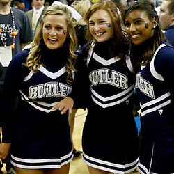 Mar 26, 2011; New Orleans, LA;  Butler Bulldogs cheerleaders pose for a photo following a overtime win over the Florida Gators in the semifinals of the southeast regional of the 2011 NCAA men's basketball tournament at New Orleans Arena. Butler defeated Florida 74-71.  Mandatory Credit: Derick E. Hingle