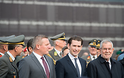 26.10.2018, Heldenplatz, Wien, AUT, Nationalfeiertag und Angelobung neuer Rekruten. im Bild Sport- und Verteidigungsminister Mario Kunasek (FPÖ), Bundeskanzler Sebastian Kurz (ÖVP) und Bundespräsident Alexander Van der Bellen // Austrian Minister for Defence and Sports Mario Kunasek, Austrian Federal Chancellor Sebastian Kurz and federal president of Austria Alexander Van der Bellen during Austrian National Day at Heldenplatz in Vienna, Austria on 2018/10/26. EXPA Pictures © 2018, PhotoCredit: EXPA/ Michael Gruber