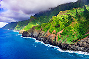 Afternoon light on the Na Pali Coast (aerial), Napali Coast Wilderness State Park, Kauai, Hawaii USA