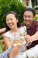 Couple toasting with friends outdoors