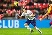 England midfielder Harry Winks heads the ball during the UEFA European 2020 Qualifier match between England and Montenegro at Wembley Stadium, London, England on 14 November 2019.