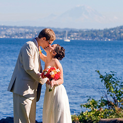 Wedding of Gaea & Alex at Martha Washington Park; reception at Lakewood Seward Park Community Center, Seattle